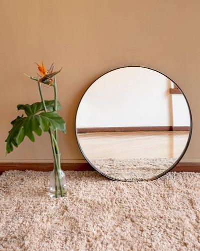 Espejo Redondo Marco Hierro Negro