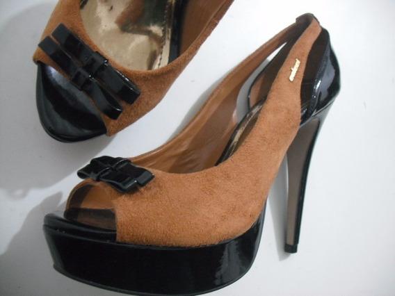 Sandalia Peep Toe Colcci Bicolor 37 Usado Bom Estado