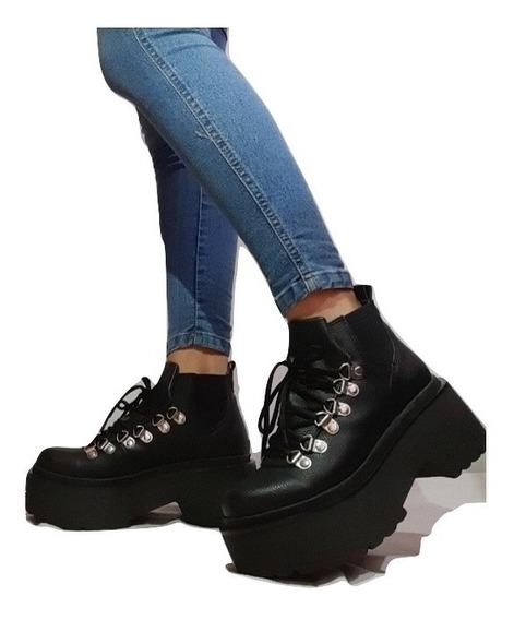 Borcegos De Cuero A23 Plataforma Zapatos Mujer