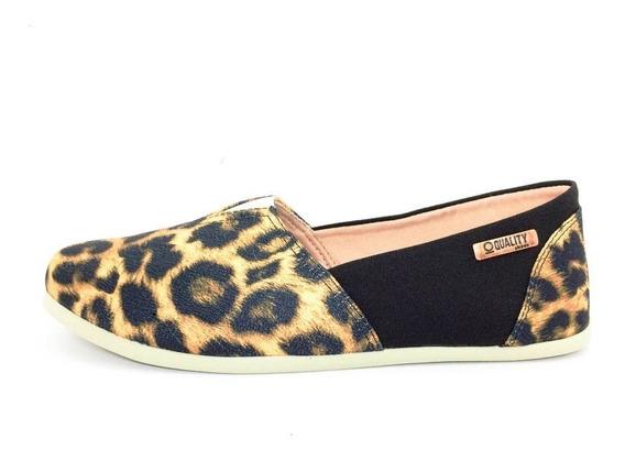 Alpargata Quality Shoes Feminina 001 Onça E Preto