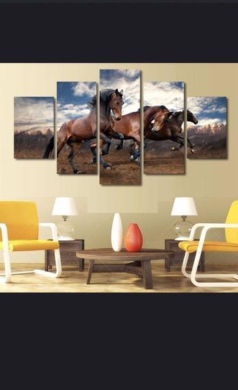Quadro Cavalos Selvagens 120x60 Qualidade Fotográfica 4k