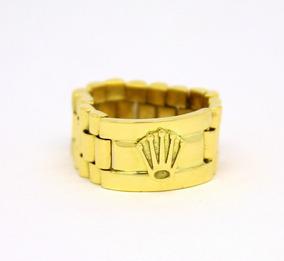 Anel Modelo Rolex Ouro Amarelo 18k 750