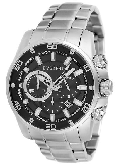 Everest Relógio Masculino Aço 25 Á Prova D´agua C Garantia 1