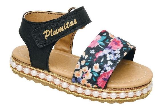 Sandalia Plumitas Oficial Con Flores Para Bebé Negra