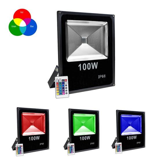 Refletor Holofote Led 100w Colorido Rgb Ip65 Bivolt Ip65