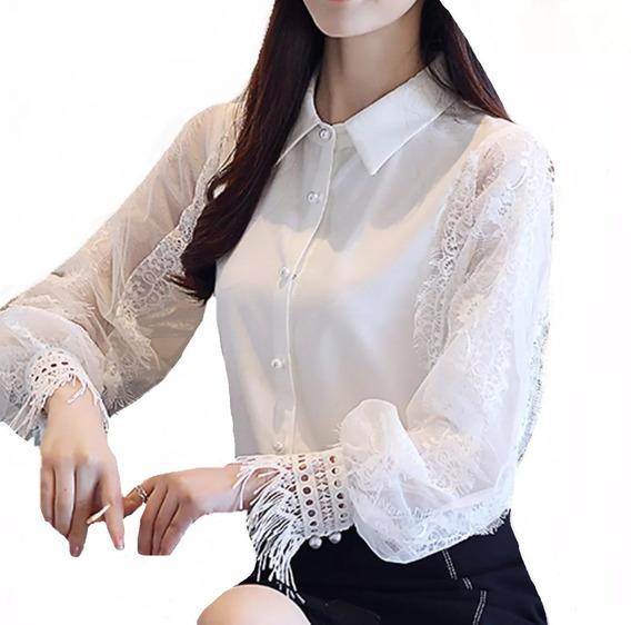 Camisa Feminino Blusa Social Manga Longa Puro Luxo