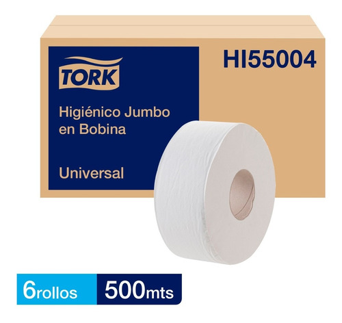 Papel Higiénico Jumbo Tork Universal 6 Rollos De 500 Metros
