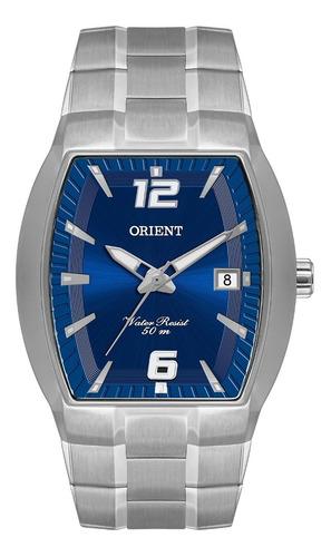 Relógio Orient Masculino Gbss1053 D2sx Prata Azul Quadrado