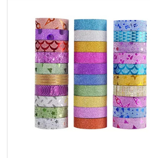 10 Cintas Adhesivas Washi Tape Adherible Papeleria