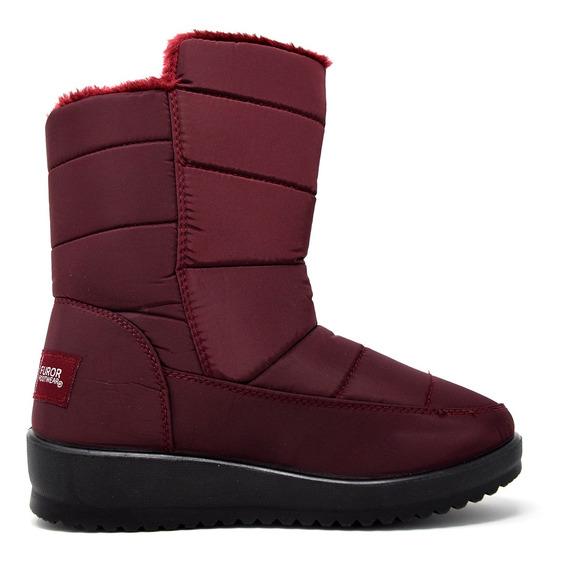 Zapatos Dama Estilo Bota Mediana Invernal 16375 Vino Furor