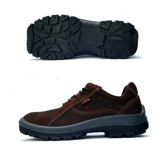 Sapato Cadarço Amarrar Couro Nobuck Marrom Cafe Tenis