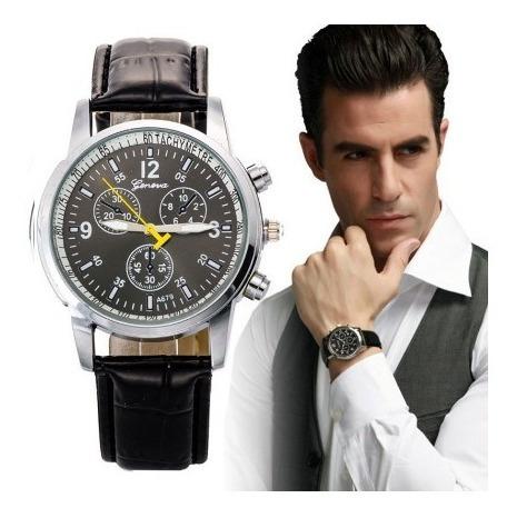 Relógio Pulso Masculino Geneve Quartzo Pulseira Couro Preta