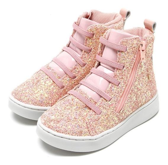 Bota Bibi Couro Urban Boots Glitter Rosa - Imperdível