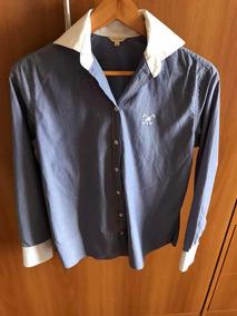 Camisa Listrada Feminina Azul E Branco Manga Longa Polo Play