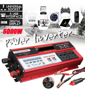 Inversor Pico 6000w 12v 110v 2plug Potente Red Envio Rápido