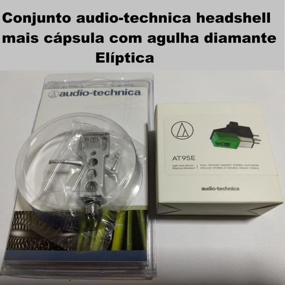 Audio Technica Headshell Capsula Agulha Diamante Eliptica