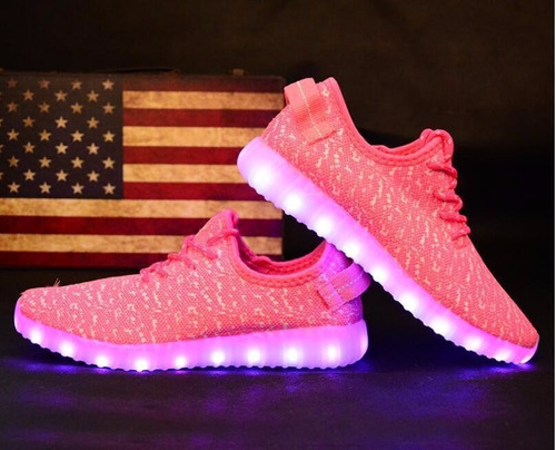 Zapatos Pink Tenis Mujer Led Luces Luminosos Sports //