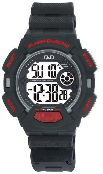 Relógio Pulso Q&q M132j004y Digital Borracha Preto Original
