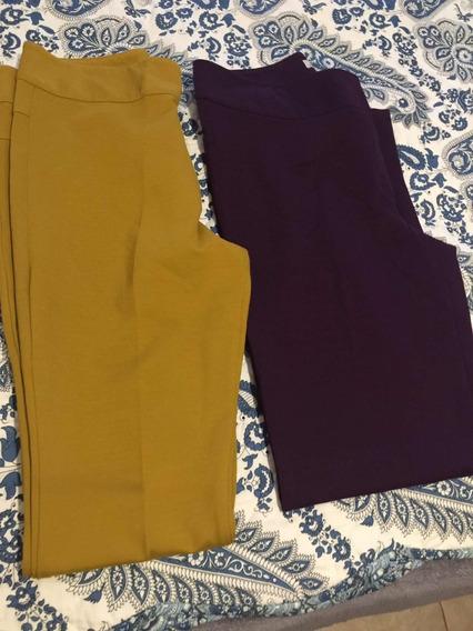 Pantalones De Marca Violeta Y Mostaza.