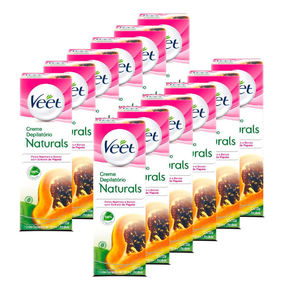 Depilação Veet Creme Depilatório Naturals Papaia - 12 Unid