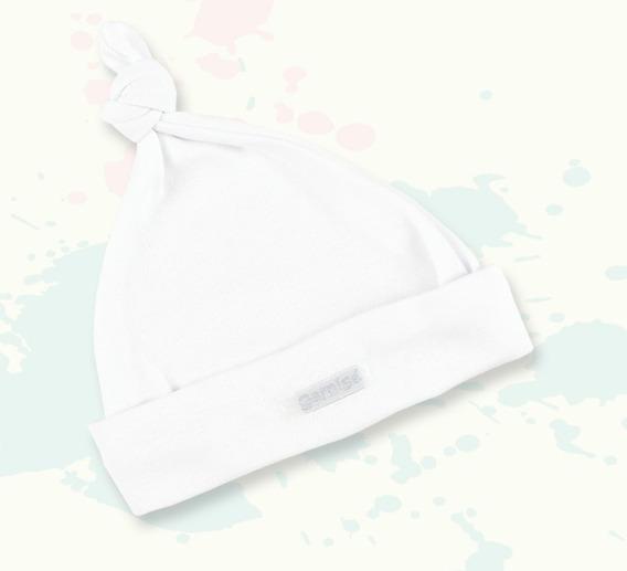 Gorrito Gamise Blanco Algodón Recién Nacido Con Nudo Art.206
