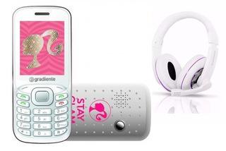 Celular Infantil Barbie C90 + Fone Gradiente Branco/rosa