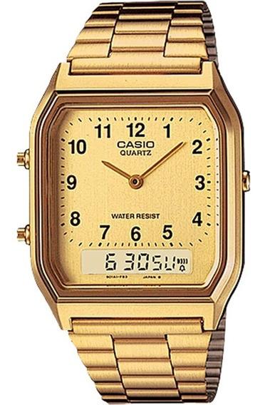 Relógio Casio Vintage Masculino Dourado Aq-230ga-9bmq