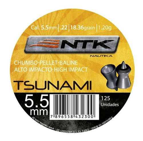 Imagem 1 de 5 de Chumbinho Nautika Ntk Tático Calibre 5,5 Mm 125 Un - Tsunami