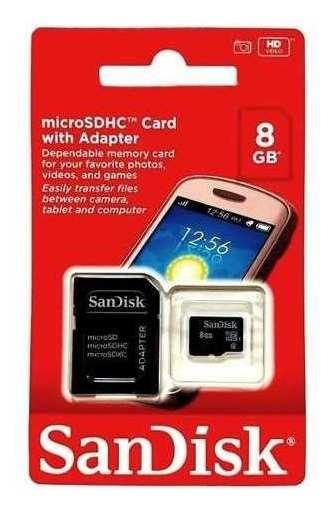 Cartão De Memória No Formato Micro Sd Sdhc Da Sandisk Tem Capacidade De Armazenamento De 8gb Com Adaptador Sd