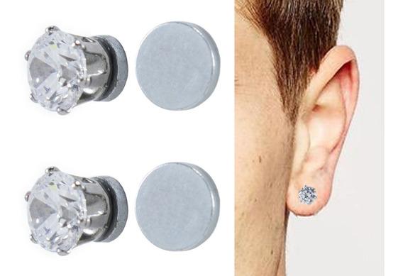 Arete Magnetico Diamante 2 Pzs Con Envío