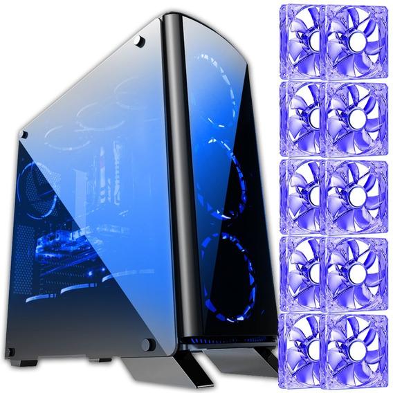 Gabinete Gamer Blue Case Bg 007 Vidro Temperado Com 10 Fans