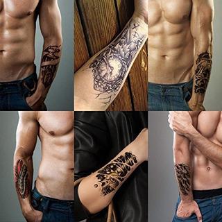 Leoars 6 Hojas 3d Robot Brazo Tatuaje Temporal Pegatinas Imp