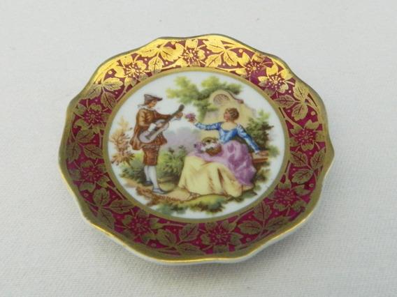 Plato Decorativo Porcelana Limoges 7 Cm Soporte Alambre