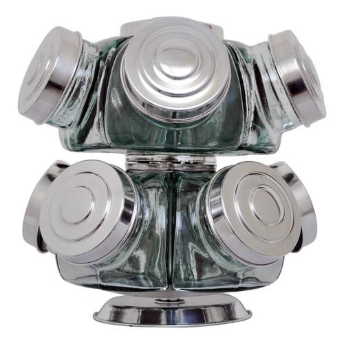 Imagem 1 de 1 de Baleiro De Vidro Giratório Mini 10 Potes Tampas De Alumínio