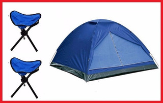 Combo Carpa 2 Personas Iglu + 2 Banquetas Plegable Camping