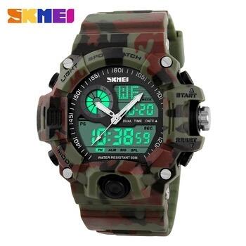 Relógio Masculino Camuflado Verde E Vermelho A Prova D