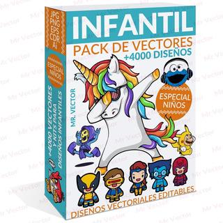 Mega Pack +4000 Vectores Y Kits Para Diseños Infantiles Kids
