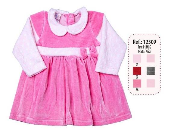 Vestido Bebe Plush Liso Detalhe Cinto Com Laço Ref 12509