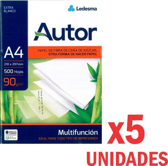 5 Resma Papel 90gr Ledesma A4 Multifuncion Autor Hojas Laser