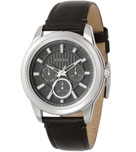 Relógio Masculino Original Prata Pulseira De Couro Nt Fiscal
