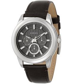 Relógio Masculino Original Fossil Prata Marrom Couro Novo