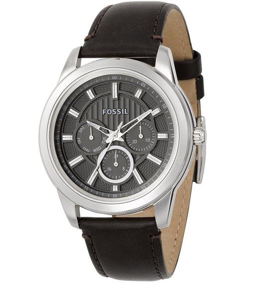 Relógio Masculino Original Fossil Prata Marrom Couro Esporti