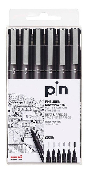 Uni Pin Fine Line Caneta Nanquim Estojo Com 6 Pontas Oferta!