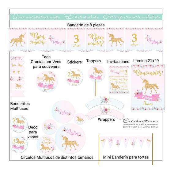Unicornio Dorado Kit Imprimible Completo Pony Cumpleaños