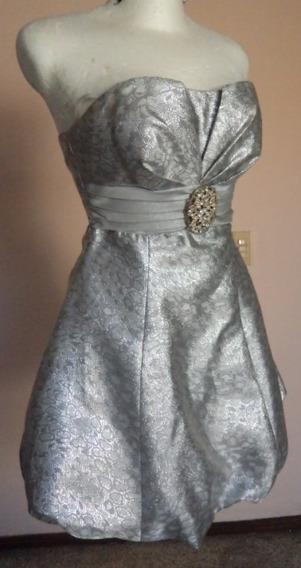 Vestido Plateado Strapless Liz Minelli Talla S Vt212
