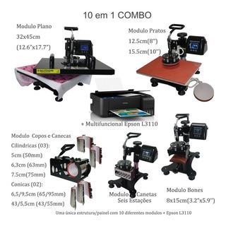 Prensa Termica 10 Em1 A3 A4 + Impressora Epson L3110 110v
