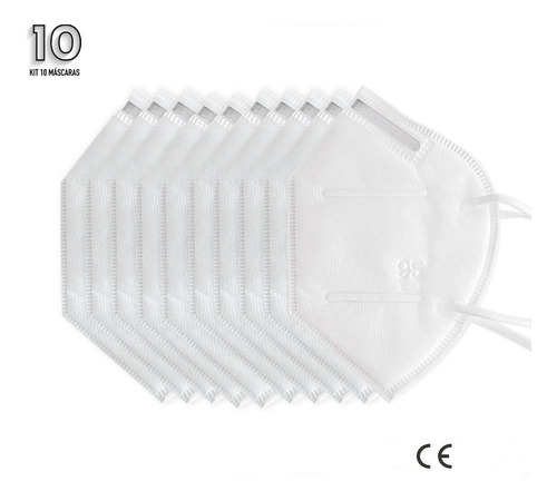 Imagem 1 de 8 de Kit 10 Máscaras N95 Proteção Respiratória Pff2 Envio Rápido