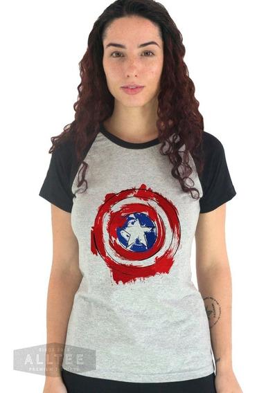 Camiseta Feminina Escudo Capitão América Blusa Feminina Nerd