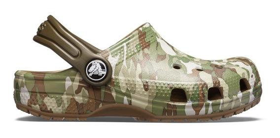 Zapato Crocs Unisex Infantil Classic Graphic Clog Militar