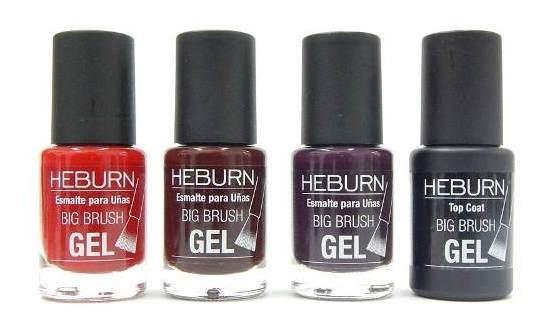 Heburn Set 3 Esmaltes Efecto Gel Color Sin Cabina + Top Coat